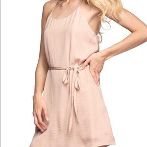 Mini tank top dress with belt in Champagne